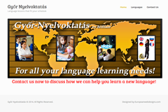 Gyoroktatas is a website constructed for a language school in Hungary. Currently the site is ready for translation into Hungarian. The site features a full width slider on the home page. Other pages give information about the language classes provided, the teaching staff and options for study. The site has been built to allow a full e-commerce capability at a later date.